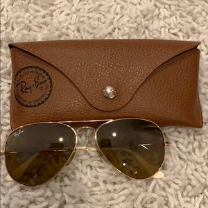 Authentic brown and gold ray bans. Small size.